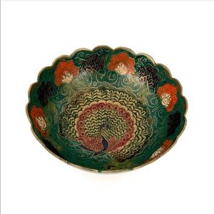 Brass Bowl Painted Peacock Boho